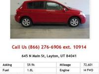 2012 Nissan Versa S S Hatchback Red I4 1.8L Gas FWD