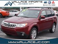 Clean CARFAX. Maroon 2012 Subaru Forester 2.5X Limited