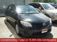 Clean CARFAX. Black Sand Pearl 2012 Toyota Corolla LE