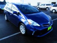 This Blue 2012 Toyota Prius v is powered by a 1.8L 4