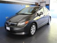 Clean CARFAX. Charcoal 2012 Honda Civic LX FWD 5-Speed
