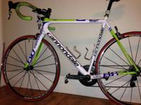 Here is a 2013, Cannondale Super Six Evo Red road bike