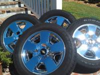 "Set of 4 Chevrolet OEM 20"" Chrome Wheels and Tires."
