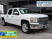 Clean CARFAX. Certified. Summit White 2013 Chevrolet