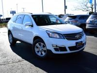 Certified. White 2013 Chevrolet Traverse LT Cloth 1LT