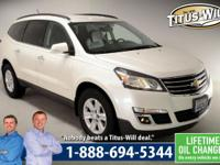 2013 Chevrolet Traverse, White, LT. AWD. Don't let the