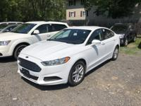 Clean CARFAX. White 2013 Ford Fusion SE FWD 6-Speed