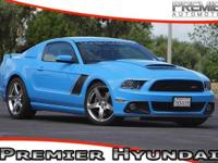 Clean CARFAX. Grabber Blue 2013 Ford Mustang GT Roush