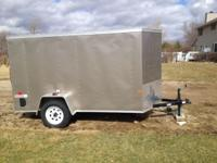 Enclosed motorcycle trailer 5 x 10 ft with rear ramp