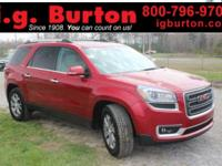 Clean CARFAX. Certified. Red 2013 GMC Acadia SLT-1 FWD