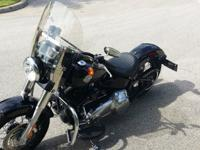 2013 One Owner FLS103 Softail Slim Vivid Black Lowered