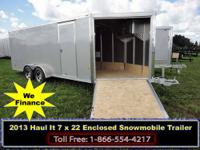 2013 Haul-It 7x22 Enclosed Aluminum Snowmobile trailer