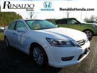 2013 Honda Accord EX-L White Leather.  CARFAX