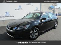 EPA 36 MPG Hwy/27 MPG City! Crystal Black Pearl