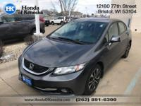 Recent Arrival! Gray Leather. 2013 Honda Civic 4D Sedan