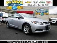 Only 36,165 miles on this 1-owner Civic coupe. Features