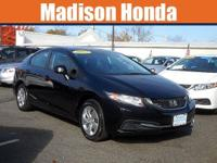 2013 HONDA CIVIC LX CARFAX One-Owner. Crystal Black