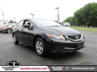 CARFAX One-Owner. Black 2013 Honda Civic LX FWD Compact