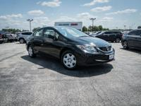 Clean CARFAX. Crystal Black Pearl 2013 Honda Civic LX