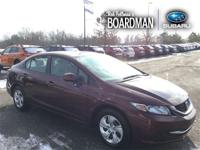 Recent Arrival! Burgundy 2013 Honda Civic LX FWD