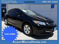 New Price! 2013 Honda Civic LX LOW MILES! Crystal Black