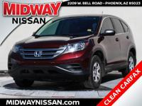 New Price!2013 Honda CR-V LX Basque Red Pearl II 2.4L
