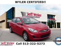Red 2013 Hyundai Accent GLS FWD 6-Speed Automatic with