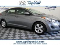 2013 Hyundai Gray Elantra Certified. CARFAX One-Owner.