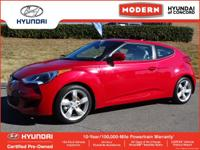 THIS VELOSTER IS CERTIFIED! CARFAX ONE OWNER! WHEEL