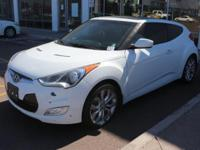 Certified. White 2013 Hyundai Veloster FWD 6-Speed 1.6L
