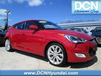 CARFAX One-Owner. Red 2013 Hyundai Veloster w/Black FWD