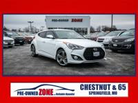 Clean CARFAX. White 2013 Hyundai Veloster Turbo FWD