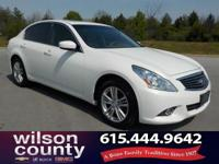 2013 INFINITI G37 X 3.7L V6 DOHC 24V Moonlight White
