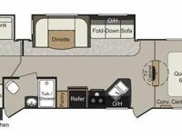 This double slide floor plan features a queen sized