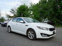 Clean CARFAX. Snow White Pearl 2013 Kia Optima EX FWD.