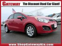 Cloth. Clean CARFAX.Red 2013 Kia Rio EX FWD 1.6L I4 DGI
