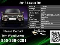 Call Tom Wood Lexus at  Stock #: LDR717 Year: 2013