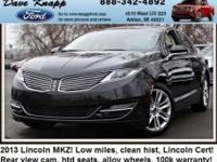 LINCOLN CERTIFIED!!! MKZ with less than 12k miles