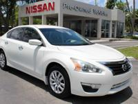 Clean CARFAX. Pearl White 2013 Nissan Altima 2.5 S FWD
