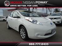 Carfax 1-Owner!. Leaf S and Glacier White. Electric! In