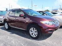 Clean CARFAX. Red 2013 Nissan Murano SV AWD CVT with