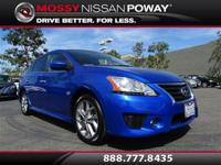 Sentra SR, Nissan Certified, and Metallic Blue.