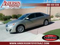 Toyota Certified. Very low mileage! A 2013 Camry with