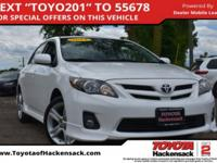 Super White 2013 Toyota Corolla S FWD 4-Speed Automatic
