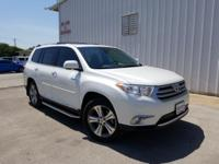 Clean CARFAX. White 2013 Toyota Highlander Limited FWD