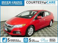 Clean CARFAX. Red 2013 Honda Insight EX FWD CVT 1.3L I4