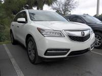 CARFAX One-Owner. Clean CARFAX. White 2014 Acura MDX