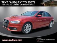 Clean CARFAX. Volcano Red Metallic 2014 Audi A4 2.0T