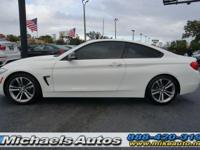 BMW 428i Sport Coupe. Options include black high-gloss