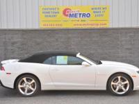 Clean CARFAX. White 2014 Chevrolet Camaro 2LT RS